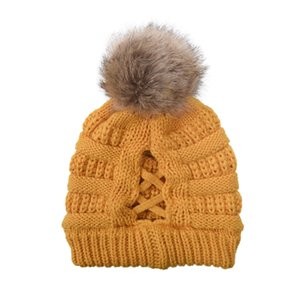 Removable Pom Pom Beanies Cross Ponytail Beanies 11 Colors Winter Warm Knitted Wool Hat Women Ski Skull Caps Festive Party Hats CYZ2843
