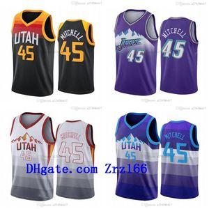 Erkekler Basketbol Utahcity Team Donovan 45 Mitchell Rudy 27 Gobert Siyah Kırmızı Turuncu 2020-21 Kar Dağ Şehri Kolsuz Forması ve Şort