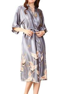 Donne Eleganti Kimono Trotte Robe Nightwear Nightwear Damigella d'onore Direzione Dressing Gown Loungewear Signore Signore V Scollo a mezza manica Camicetta con cintura