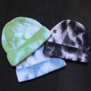 Tie-dye Beanie Warm Winter Hats For Women Ladies Men Cuffed Plain Skull Cap Bonnet Autumn Knitted Hip hop Plangi Short Watch Cap