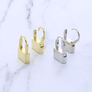 minimal klassisch schlichtes Design european Frauen Schmuck Lock förmige Goldfarbe HOOPS Herzschloss Frauen empfindlichen Ohrring Schmuck