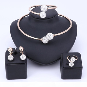 Wholesale Beads African Jewelry Set Fashion Wedding of Women Dubai Jewelry Sets Pure Gold-Color Pendientes Pendientes Anillo de brazalete