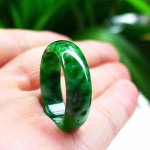 Dedo Hflowering Jade seca natural birmanês Jadeite Verde Fine Jewelry Emerald Mens and Womens Anel h