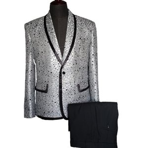 New Fashion Silver Fish Scales Printed Suit Men Blazer One Button Men's Slim Fit Tuxedos Costume Homme