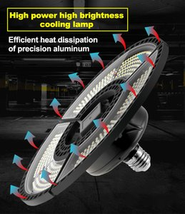 high quality E27 LED Deformable Folding Garage Lamp Super Bright Industrial Lighting 60W 80W 100W High Bay Industrial Lamp for Warehouse