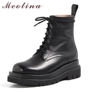 Meotina الكاحل النساء أحذية جلدية حقيقية منصة للدراجات النارية أنثى ربط الحذاء حتى شقة قصير الأحذية سيدة الشتاء