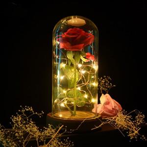 Romântico Everlasting Flor de vidro Tampa Decoração Flores tampa de vidro preservada Dia T2I51642 decoração do casamento dos Namorados Rose