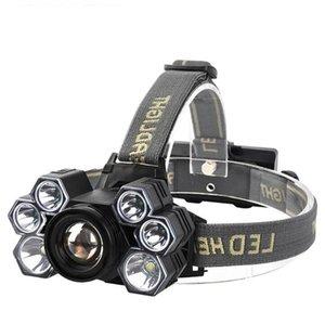 Impermeable 7 LED Faros de la caza al aire libre Camping Pesca Ciclismo XPE T6 Faros Portátiles Torch Torch Vuelos Vuelos de recarga USB Faro
