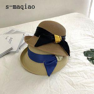 S-Maqiao 2021 летние лук ленты солнца шляпа Панама женская крышка капюшон капон пляж соломенные шляпы