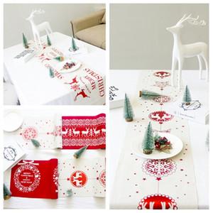 عيد الميلاد زخرفة طاولة العلم خلاقة ثلج سانتا كلوز عيد الميلاد الأيائل الجدول الجدول القماش تزيين المنزل T2I51605