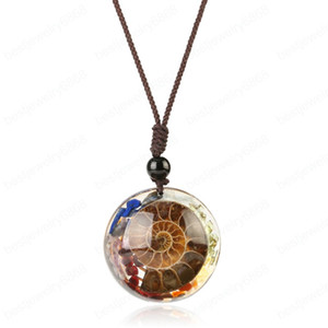 Natural Stones Ammonite Fossils Pendants Necklaces Cabochon Chip Beads Resin Spiral Conch Shell Pendant for Female Men
