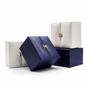 Caja de joyería de marca Dark Blue PU Cuero opuesto a la puerta Caja de anillo de la puerta Collar de alto grado Pulsera1