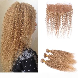 Brazilian Virgin Hair Weave #27 Honey Blonde Afro Kinky Curly Lace Frontal With Bundles #27 Hair Bundles With Ear To Ear Lace Closure