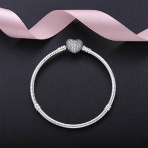 Otantik 925 Ayar Gümüş Kalp Takılar Bilezik Kutusu Ile Fit Pandora Avrupa Boncuk Takı Bileklik Kadınlar için Gerçek Gümüş Bilezik
