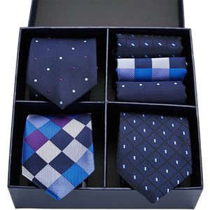 Clássico 7,5 cm 3pcs laços Gravatás dos homens de alta qualidade laço laços conjunto lenço caixa homens listrado presente gravatas 201027 para