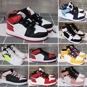 Дешевые новые 1 баскетбольные кроссовки ретро волк серый гамма синий черный белый красный выпускного вечера дети кроссовки кроссовки теннис