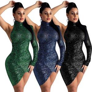 Ein Pailletten Schulter Frauen Kleider Sommer Unregelmäßige Länge dünne reizvolle Frauen-Entwerfer-Kleid-beiläufige Backless Kleidung