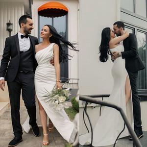 Elegant One Shoulder Wedding Dresses Side Split Satin Pleats Boho Bridal Wedding Gowns Cheap Robe De Mariee