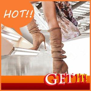 Malha sexy Summer Women Chaussures Chaussures Bottes au genou Mesdames à talons hauts Gladiateurs Mujer à cheveux longs 0s38