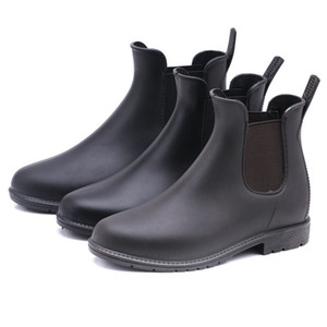 Fashion short tube women's elastic rain boots non-slip water boots adult overshoes