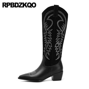 block embroidery european women black western boots cowboy suede knee high chunky embroidered shoes pointed toe cowgirl luxury