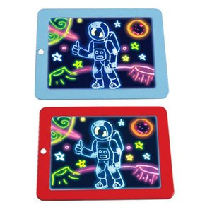 3D Magic Drawing Board Creative Kids Children Pen LED Lights Glow Art Sketchpad 201014