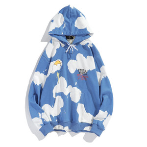 High quality Hoodie New Travis Scott blue sky white clouds thunderbolt men's and women's tie dye oversized sports Hoodie 201021