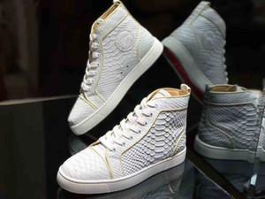 Weiße Fisch-echtes Ledermens-Rot grundiert Schuhe mit Nieten Spikes Damen Spitzen-Schuh-Partei-Liebhaber Arbeiten Sie echtes Leder-Plattform-Turnschuhe