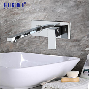 JIENI Luxury Golden Polished Wall Mount Tap Bathroom Basin Sink Faucet Chrome Brass Hot & Cold Mixer Matte Black Bathtub Faucet