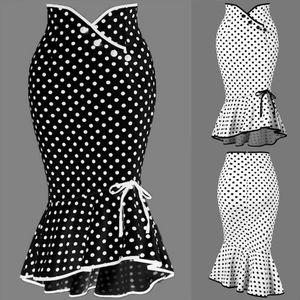 Summer Fashion Women High Waist Lady Office Skirt Sexy Slim Fit Polka Dot Mermaid Skirt Trumpet Ruffle Women Work Office