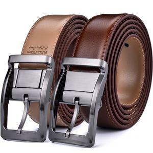 Cintura in pelle classica reversibile da uomo in pelle da 85 cm a 160 cm fibbia rotante Due in uno di Beltox Fine Y200513