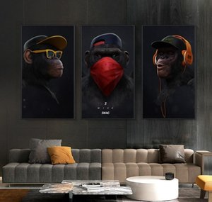Monkey Posters Art With Panels Wall Oil For Pictures Animal Living 3 Prints Painting Wall Funny Headphone Thinking Canvas Room Home bbyFa
