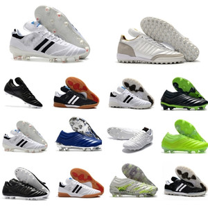 2020 Erkek Copa Mundial Deri FG Futbol Ayakkabıları 70y FG Futbol Cleats Dünya Kupası Futbol Çizmeler Boyutu 39-45 Siyah Beyaz Botines Futbol