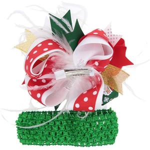 Weihnachtsfeder Hair Bow Clip und Stirnband Set Kinder Baby Mädchen Weihnachten Haarnadel Bögen Elastisches Haar Wrap Hairbands Barrettes Kopfschmuck D102802
