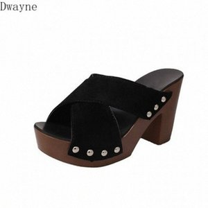 Slippers Female 2020 Summer New Mature Cross Belt Decoration Toothy High Heels Thick High Heeled Waterproof Platform Sandals LAlT#