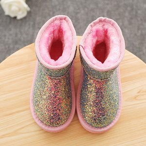 Winter Kids Snow Boots Plush Warm Fashion Sequins Solid Color Girls Ankle Boots Children Little Girl Boots Size 26-36 SL022 201021