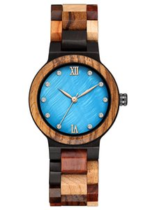 Natural Watch for Women Casual Sandalwood Quartz Wooden Band Strap Womens Wristwatch Real Wood Wrist Watches Female Crystal Diamond Reloj