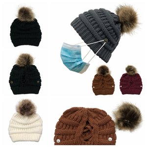 Women Knitted Cap Pom Pom Removable Button Criss Cross Ponytail Beanie Hat Outdoor Winter Casual Knitting Party Hats SEA SHIPPING LJJP687-2