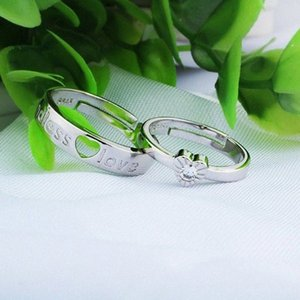 original 925 silver couple band women man jewelry wedding rings heart endless love hollow open adjustable classic souvenir 1pc qEF2#