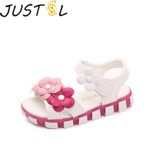 JUSTSL Children's Casual Shoes Girls Summer Sandals New Baby Flat Flower Small Shoes Kids Princess Shoes Size 21-30 201026
