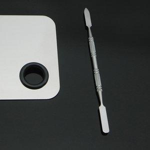 5pcs / set Edelstahl-Nagel-Kunst-Polnisch-Mischpalette Foundation Lidschatten Mischplatte mit Spachtel Rod Maniküre-Set ToolRabin