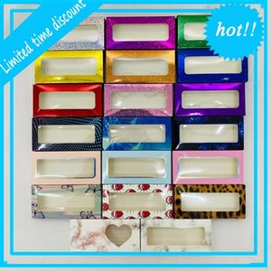 Eyelashes fashion laser pink glitter empty with tray new style popular package best selling lashes box customization wholesale