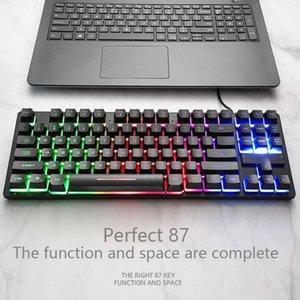 Portable USB com fio Bluetooth sem fio Dual-Mode mecânica RGB retroiluminado Gaming Keyboard Gamer Teclado 87 Key Gaming