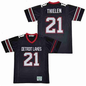 Uomini Hot 21 Adam Thielen Detroit Lakes High School Football maglia traspirante Team Squadra Blu Navy puro cotone Tutti cucita di buona qualità
