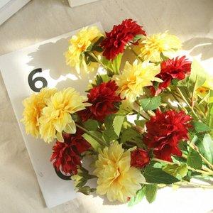 3 головки Георгины Искусственные цветы DIY Шелковый Daisy хризантема Fall Vivid Поддельный цветок и листья Свадьба украшение сада 4cBl #