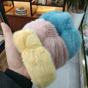 Art und Weise modische Faux-Pelz-Knoten-Stirnband reine Farbe der neue weicher Haarband Korean Breite Haarband für Frauen Haarschmuck