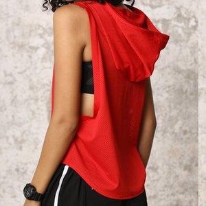 Women Running Shirt Top Sleeveless Hooded Quick Dry Workout Gym Vest Tank Fitness Sportswear Jerseys Clothing