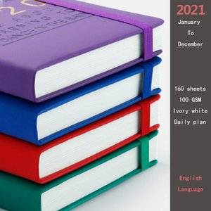 New Fashion Agenda 2021 Jan-Dec English language Thicken notebook A5 Leather soft cover School planner Efficiency journal