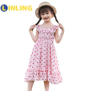 LINLING 2020 Fashion Girls Sleeveless Princess Dress for Summer Vacation Beach Dress Toddler Children Birthday Party Dress LJ200921