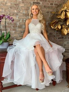 Cute High Low Halter 2021 Wedding Dresses Organza Beaded Crystal Top A line Short Front Cheap Corset Bridal Gowns Cheap Long Lace